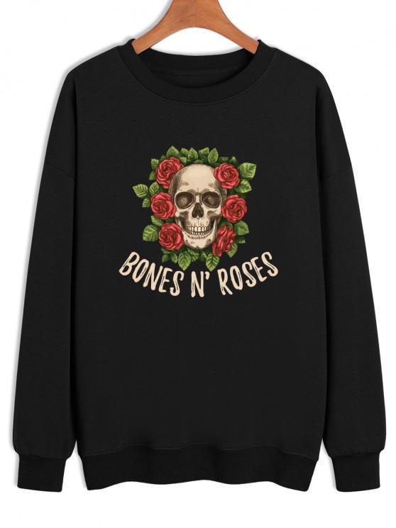 unique BONES N'ROSES Skull Print Crew Neck Sweatshirt - BLACK XL