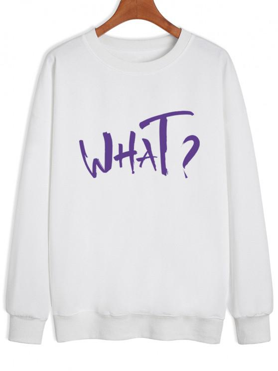 Letter Print Drop Shoulder Sweatshirt - أبيض S