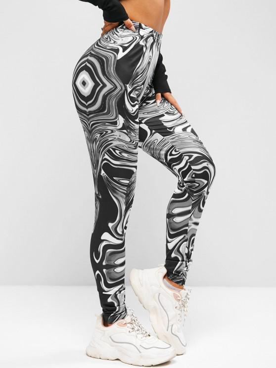 buy ZAFUL High Waist Agate Print Leggings - BLACK S