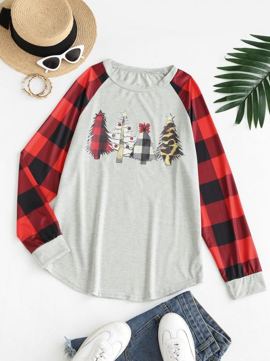 Raglan Sleeve Plaid Christmas Tree Sweatshirt - رمادي فاتح L