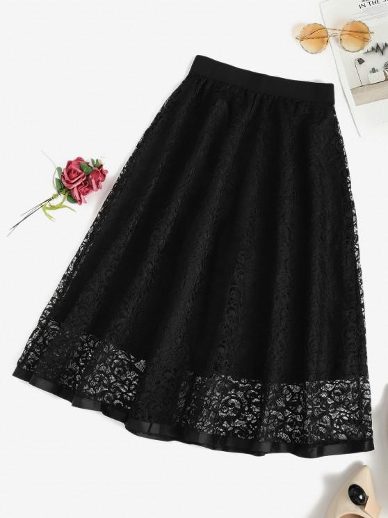 hot Lace Midi Skirt - BLACK ONE SIZE