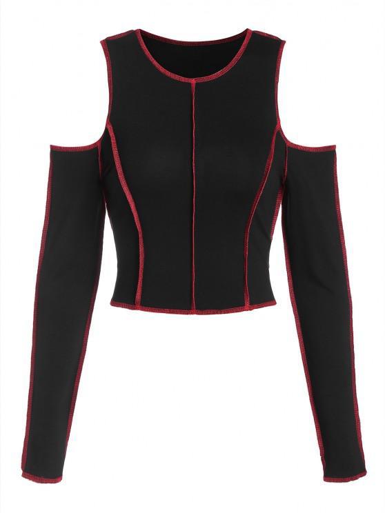 lady ZAFUL Topstitching Cold Shoulder Cropped T Shirt - BLACK L