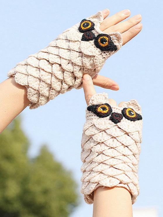 best Owl Pattern Knitted Fingerless Mitten Gloves - BEIGE