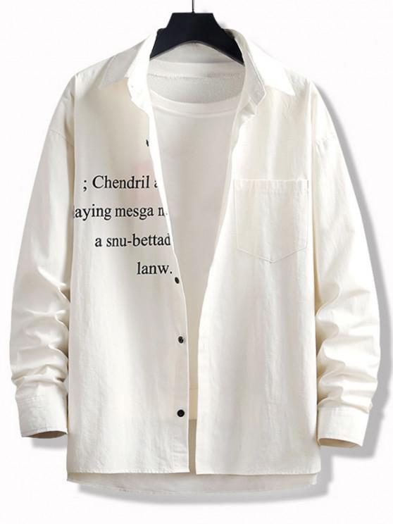 women's High Low Letter Print Pocket Button Up Shirt - WHITE 3XL