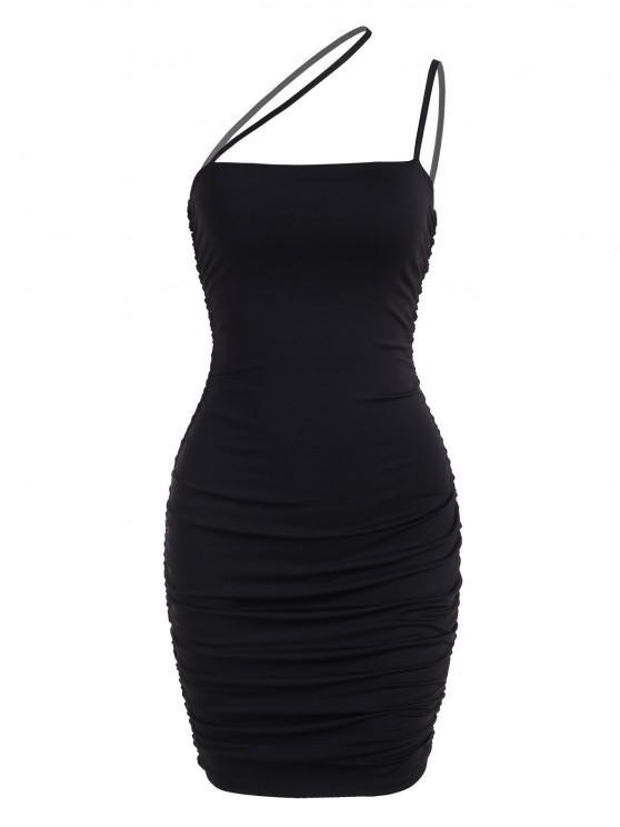 outfits Ruched Asymmetric Strap Bodycon Club Dress - BLACK XS