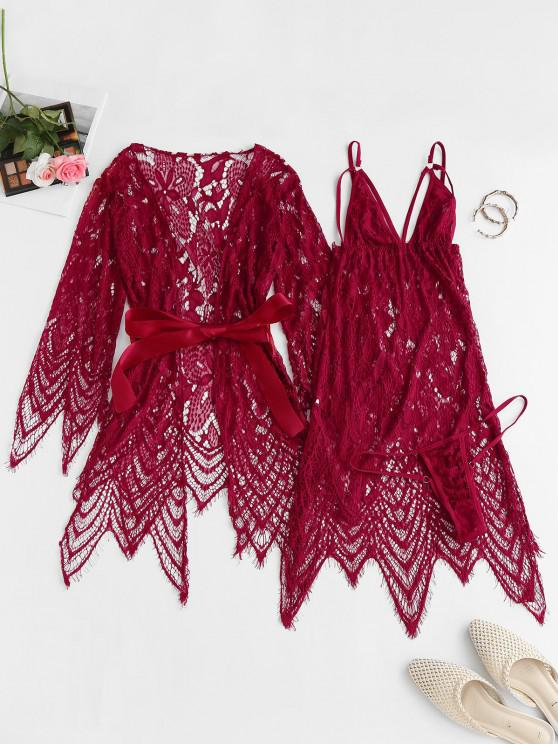 women's Lace Eyelash See Thru Sexy Lingerie Babydoll with Robe - RED ONE SIZE