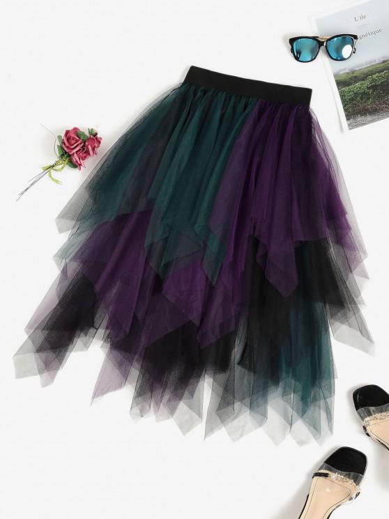 Colorblock Mesh Handkerchief Tiered Tutu Skirt - أسود مقاس واحد