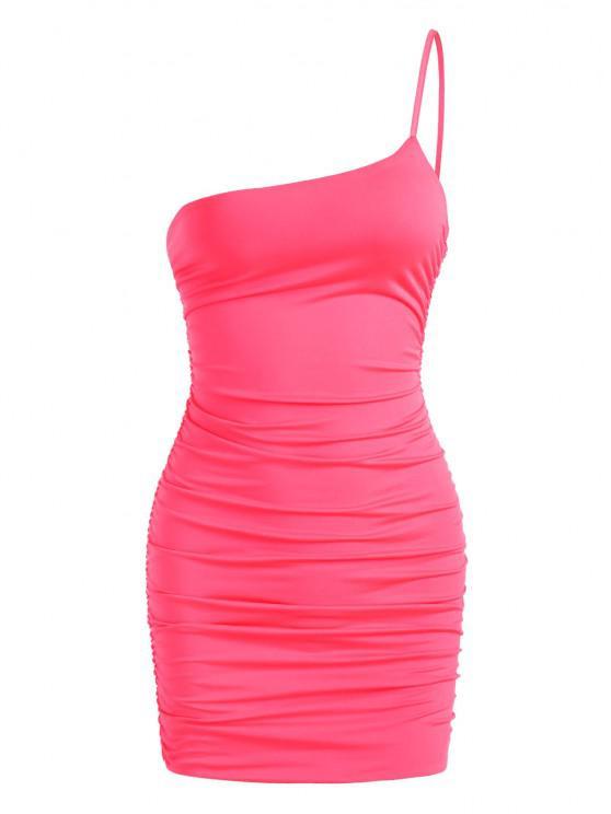 ネオンワン肩シャーリングスリンキードレス - ライトピンク S