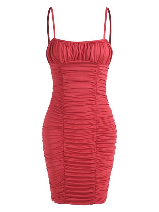 fashion Ruched Night Out Bodycon Cami Dress - RED L