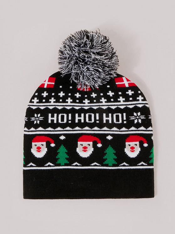 shops Christmas Santa Pattern Knitted Bubble Hat - BLACK
