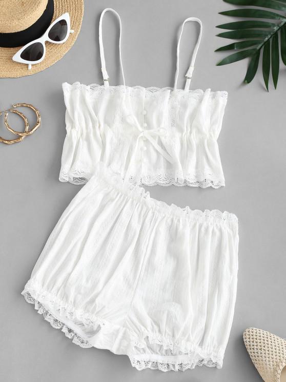 ladies Lace Trim Button Loop Cami PJ Set - WHITE M