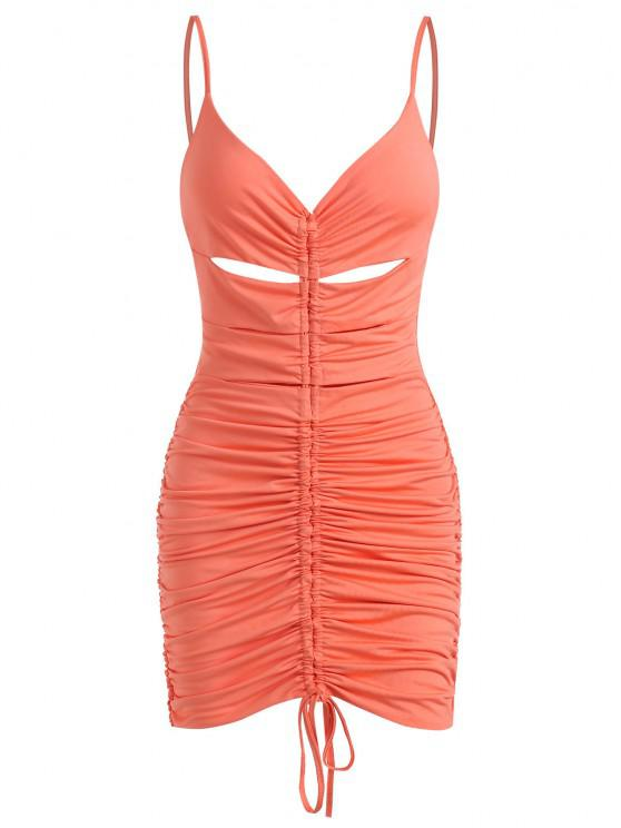 Ruched Slinky Cinched Front Keyhole Bodycon Dress - برتقالي قاتم S