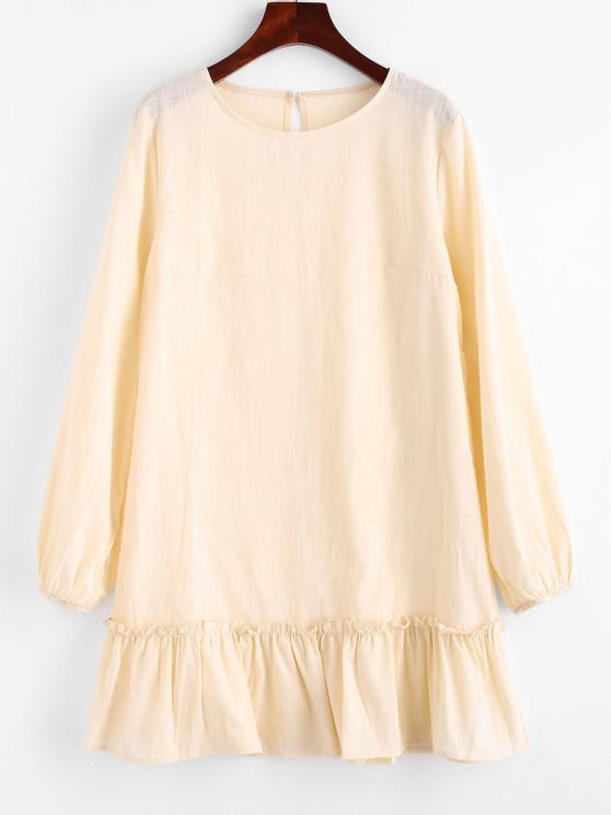 Keyhole Back Flounce Hem Mini Dress - أصفر فاتح M