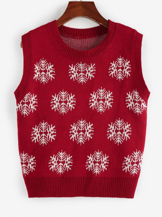 trendy ZAFUL Christmas Snowflake Ribbed Trim Sweater Vest - RED S