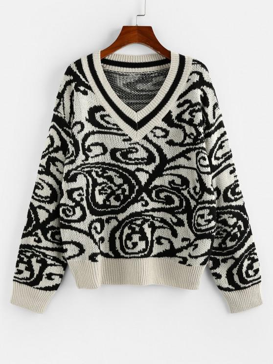 hot ZAFUL Abstract Print V Neck Drop Shoulder Sweater - LIGHT COFFEE L