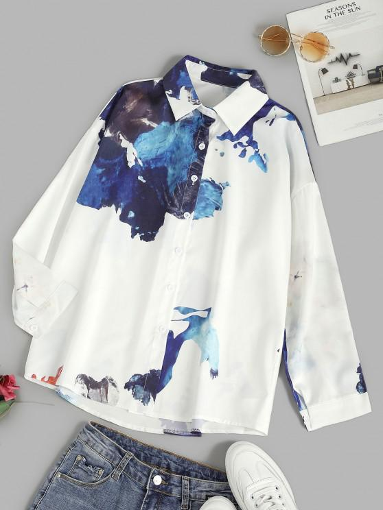 womens Ink Painting Drop Shoulder Button Up Shirt - WHITE M