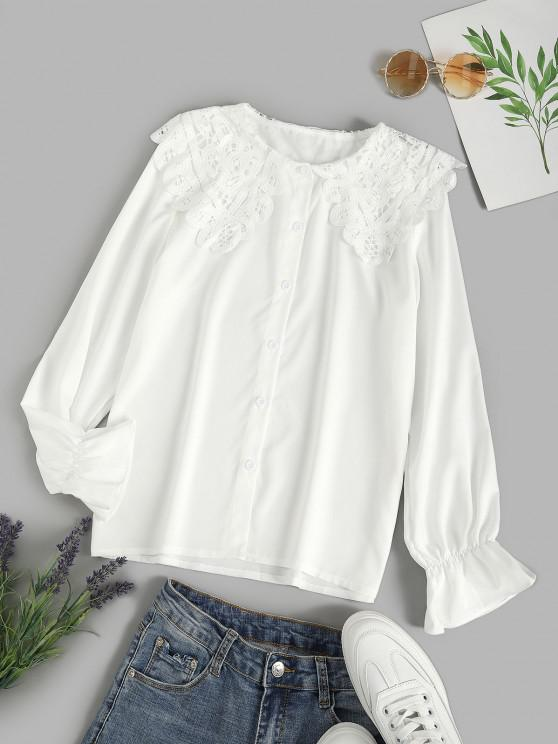 ladies Puritan Collar Guipure Insert Poet Sleeve Shirt - WHITE XL