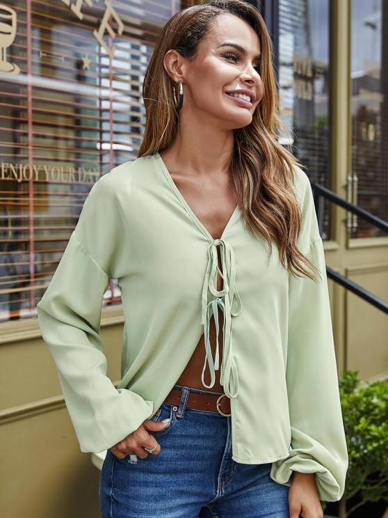 trendy Ties V Neck Lantern Sleeve Blouse - GREEN L