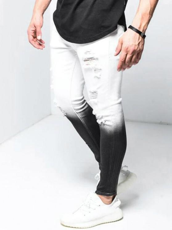 Ombre Ripped Zipper Hem Jeans - أبيض 3XL
