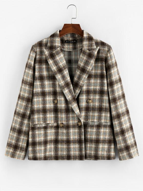outfits ZAFUL Plaid Double Breasted Lapel Blazer - DEEP COFFEE S