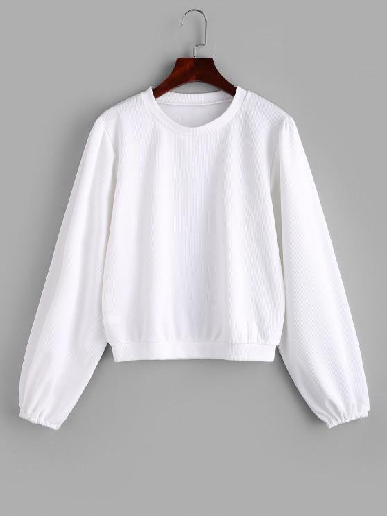 women Ribbed Plain Lantern Sleeve Top - WHITE XL