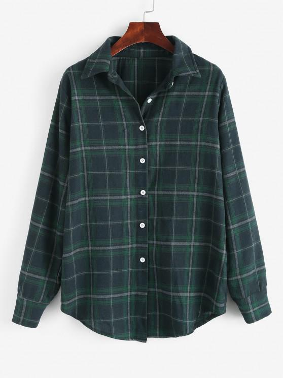 Long Button Down Plaid Tartan Shirt - ديب غرين XL