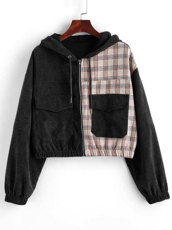 outfits Hooded Plaid Panel Corduroy Jacket - BLACK XL