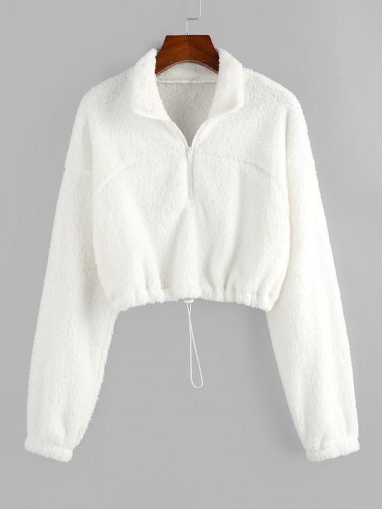 trendy ZAFUL Half Zip Plush Cropped Sweatshirt - WHITE XL