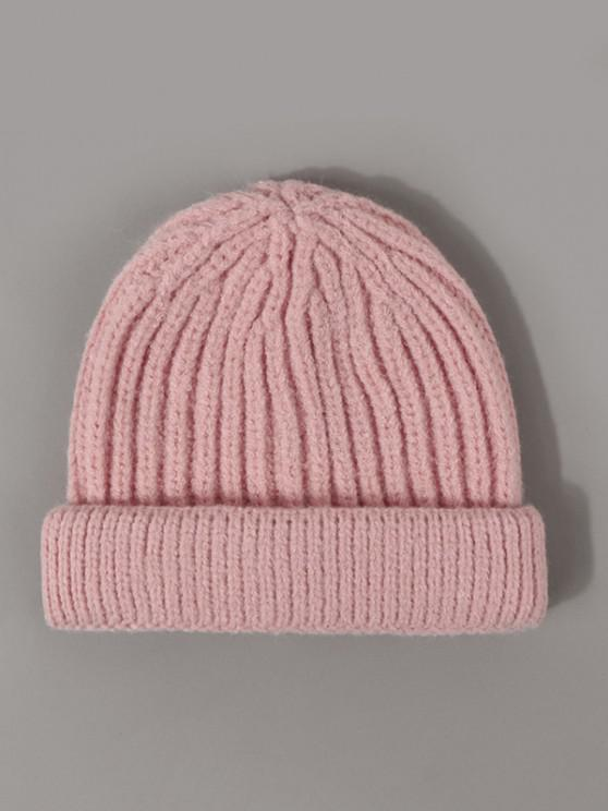 shop Ribbed Solid Knitted Beanie - PINK ROSE