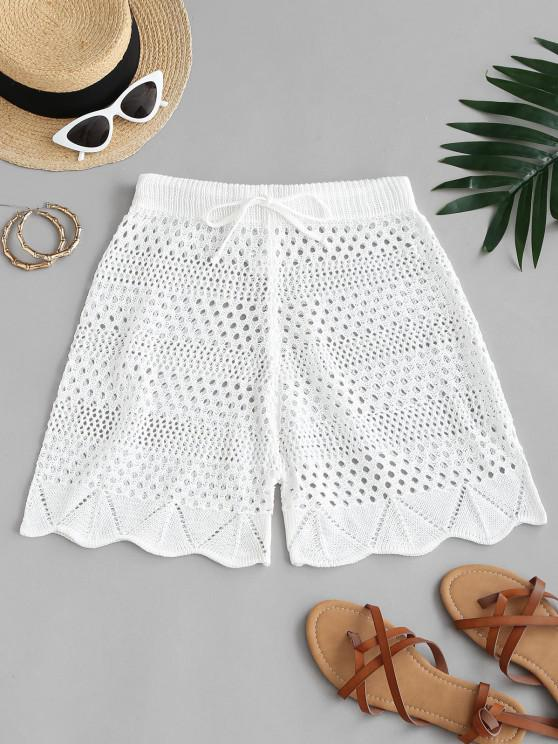 chic Drawstring Crocheted Shorts - WHITE XL