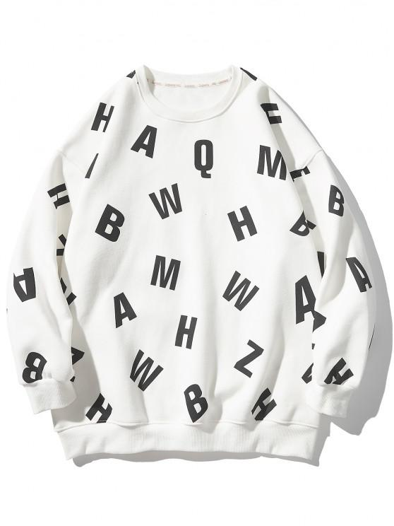 Letter Allover Print Crew Neck Sweatshirt - أبيض L