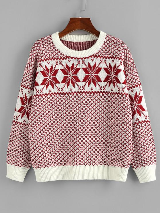 women's ZAFUL Christmas Snowflake Drop Shoulder Sweater - RED S