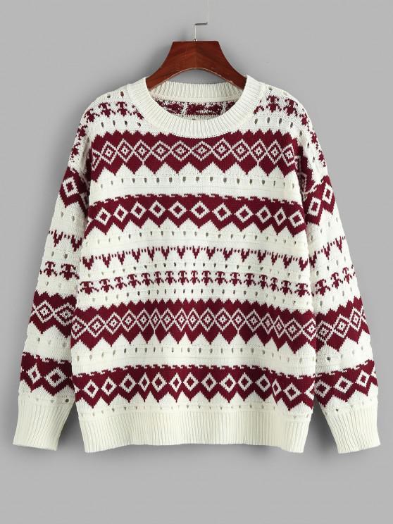 trendy ZAFUL Geo Drop Shoulder Pointelle Knit Sweater - DEEP RED L