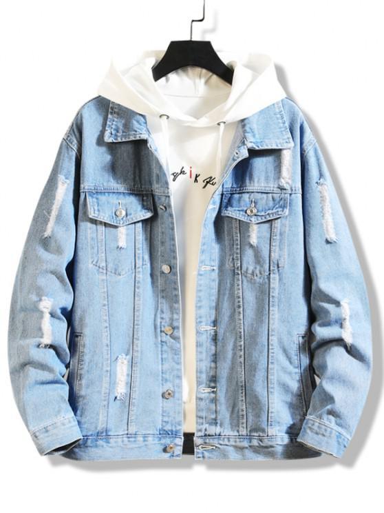 Jaqueta Jeans com Bolso Lavagem Destruído - Azul claro XS