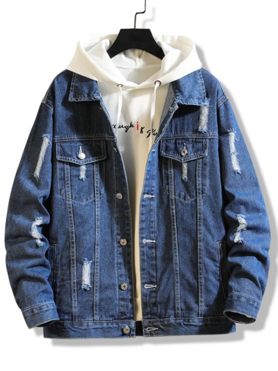 Destroy Wash Distressed Pocket Jean Jacket - ازرق غامق S