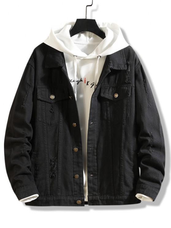 unique Destroy Wash Distressed Pocket Jean Jacket - BLACK XS
