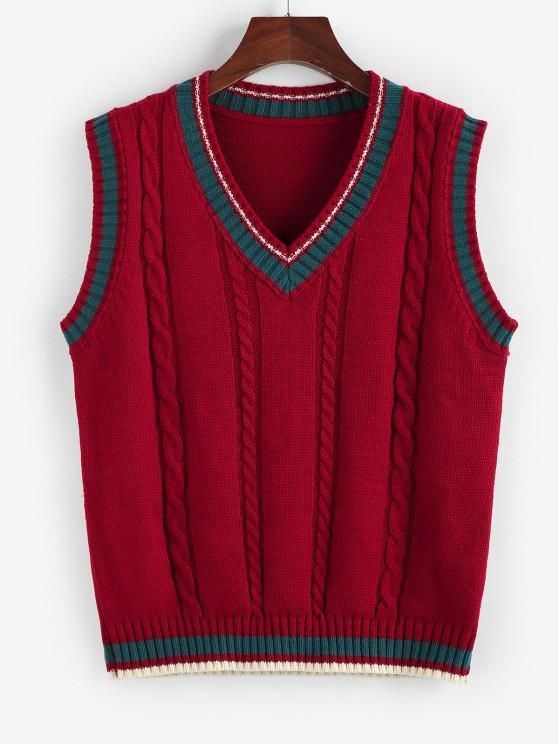 ZAFUL Cable Knit Colorblock V Neck Sweater Vest - أحمر M