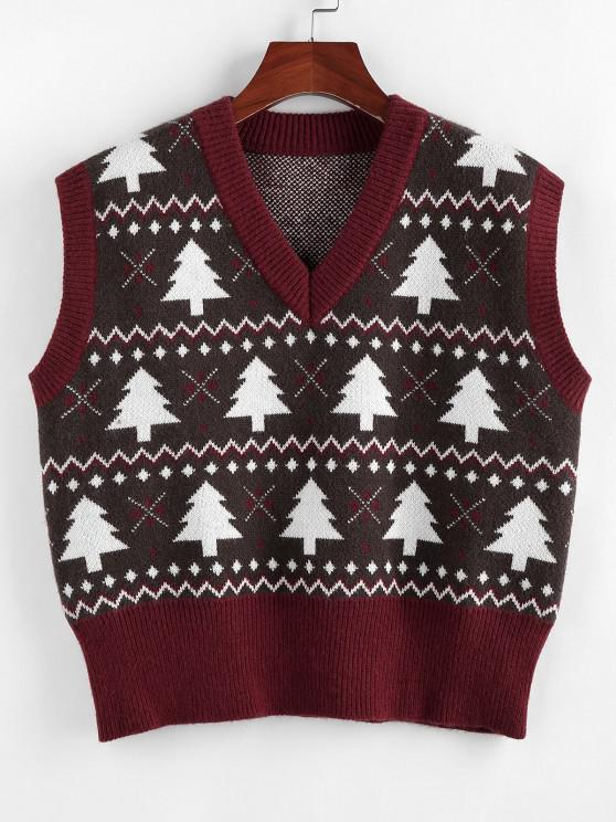 women's ZAFUL Christmas Tree V Neck Ribbed Trim Sweater Vest - DEEP RED S