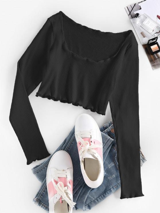 sale ZAFUL Ribbed Lettuce Trim Crop T-shirt - BLACK S