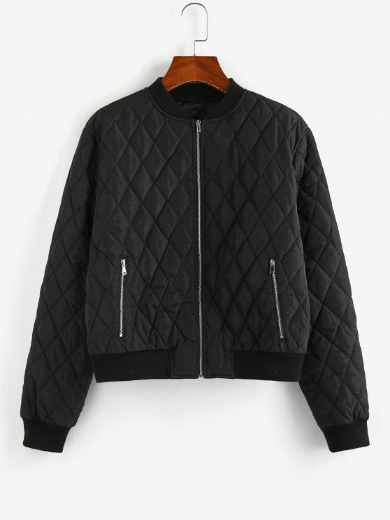 women ZAFUL Quilted Zip Up Baseball Jacket - BLACK M