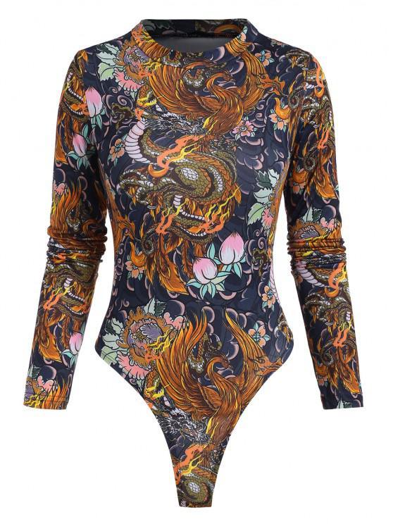 Bodysuit con Cuello Alto de Flor de Dragón - Multicolor M