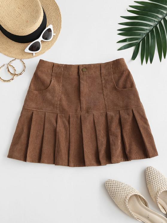 unique ZAFUL Preppy Corduroy Mini Pleated Skirt - DEEP COFFEE M