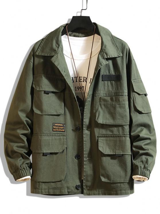 Letter Patched Multi Pockets Jacket - الجيش الأخضر XL