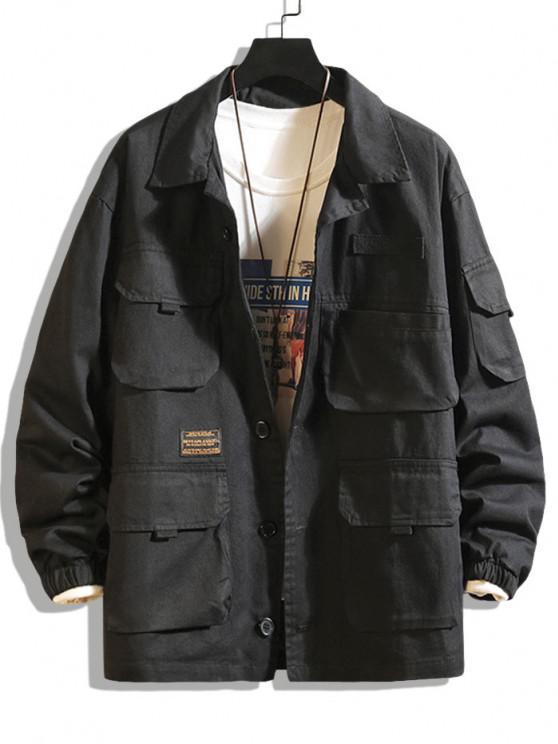 women's Letter Patched Multi Pockets Jacket - BLACK 3XL