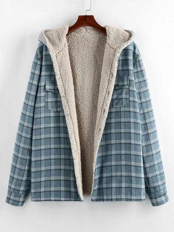online ZAFUL Plaid Pattern Teddy Lined Hooded Shirt Jacket - LIGHT BLUE S