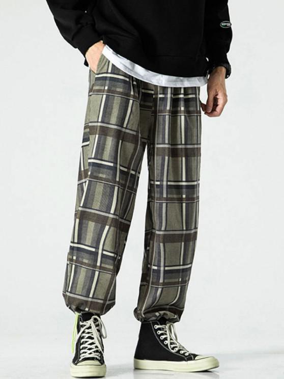 Pantalones Rayados Estampado Bota Pie Estrecho - Verde L