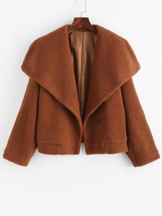 outfits One Buttoned Solid Borg Teddy Coat - COFFEE M