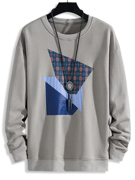 Plaid Striped Pattern Casual Sweatshirt - رمادي فاتح XS