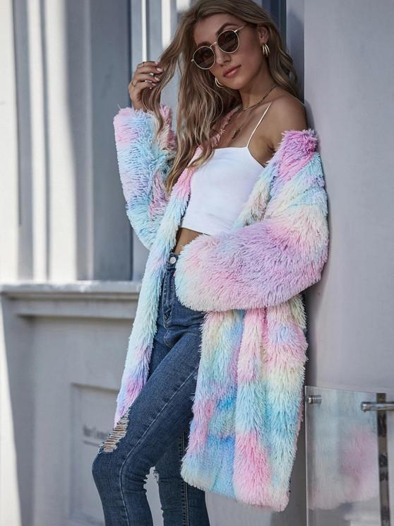 womens Tie Dye Slip Pockets Shaggy Faux Fur Coat - MULTI M