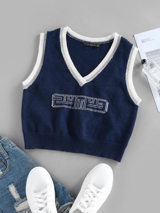 unique ZAFUL Letter Contrast Trim Plunging Crop Sweater Vest - DEEP BLUE L